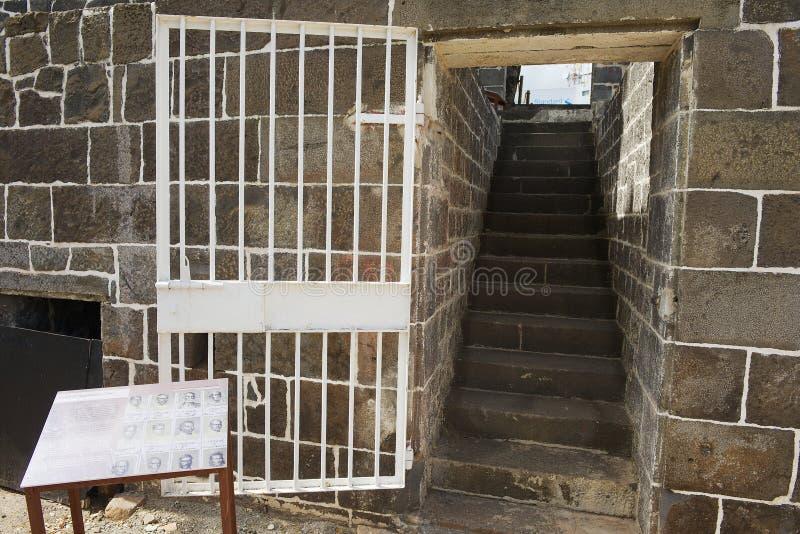 Entrée à l'Aapravasi Ghat, le complexe de bâtiment colonial de dépôt historique d'immigration à Port-Louis, Îles Maurice image libre de droits