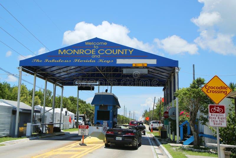 Entrée à la cabine grande de route de bruit de carte de clés de la Floride en Monroe County, la Floride image libre de droits