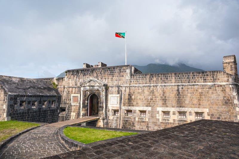Entrée à la forteresse de colline de soufre dans St Kitts images stock