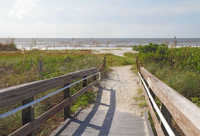 Entrée à la plage à l'île de Sanibel, la Floride image libre de droits