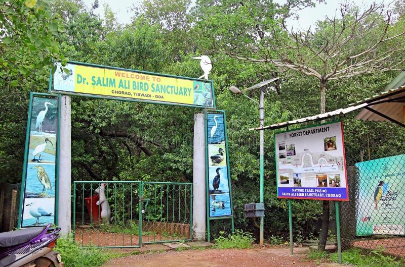 Entrée à Salim Ali Bird Sanctuary images libres de droits