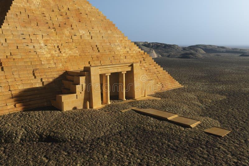 Entrée égyptienne de pyramide illustration stock
