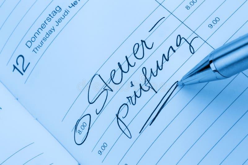 Entrée au calendrier : contrôle fiscal image libre de droits