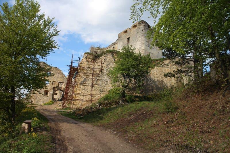 Entrée au château de Lietava, secteur de Zilina photo stock