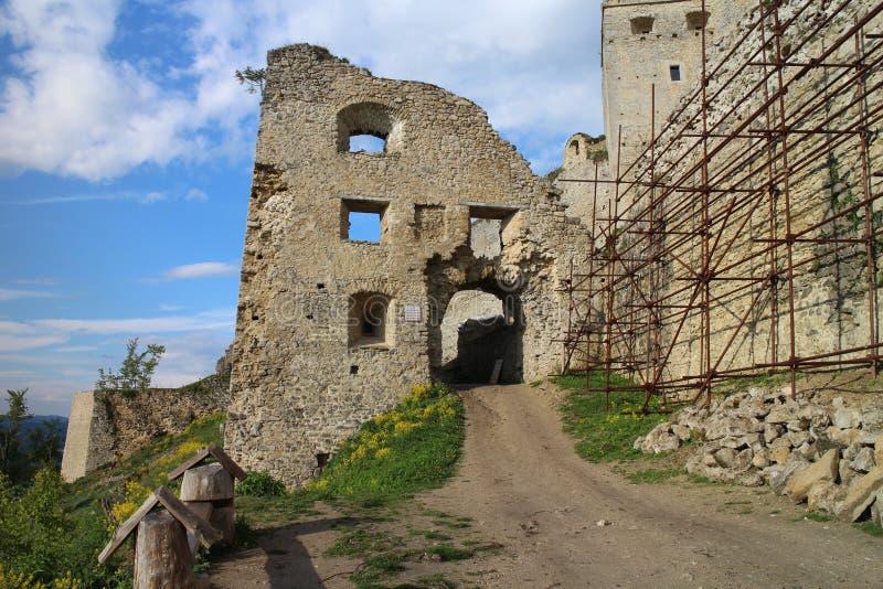 Entrée au château de Lietava, secteur de Zilina images libres de droits