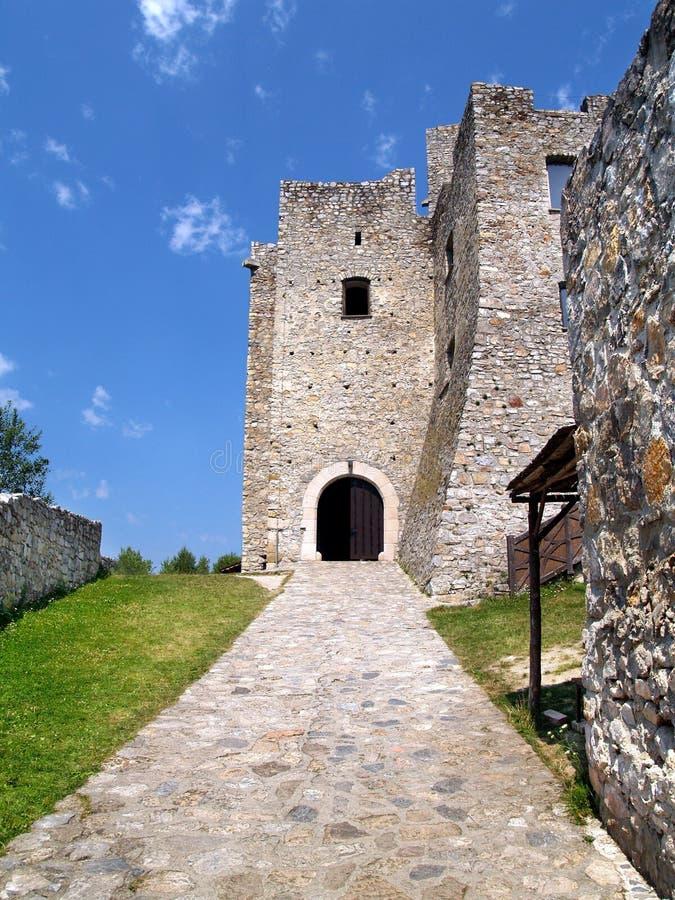 Entrée au château de Strecno images libres de droits