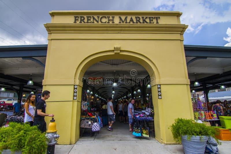 Entrée au marché français photographie stock