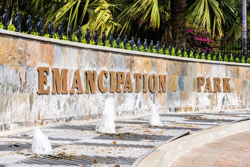 Entrée au parc d'émancipation à nouveau Kingston, Jamaïque photo stock