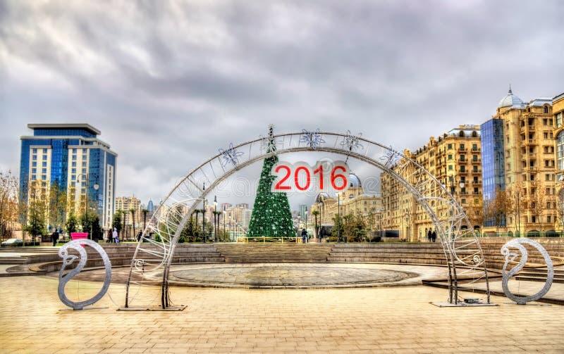 Entrée au parc d'hiver à Bakou image stock