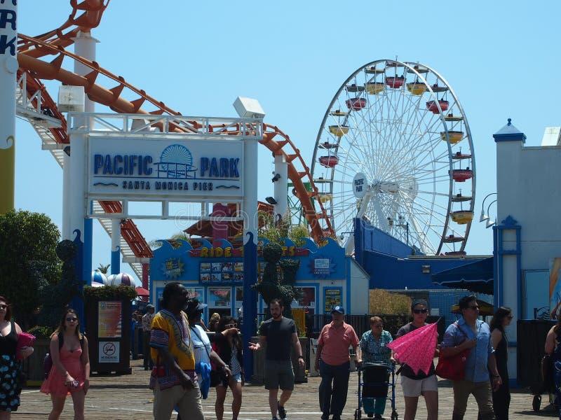 Entrée au parc Pacifique Santa Monica Pier photos stock