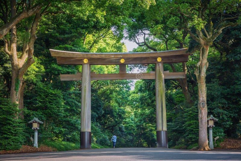 Entrée au temple de Meiji-jingu au central, Japon photo libre de droits