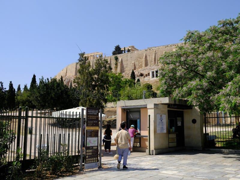 Entrée aux pentes d'Acropole sous le parthenon, Athènes, Grèce photo stock