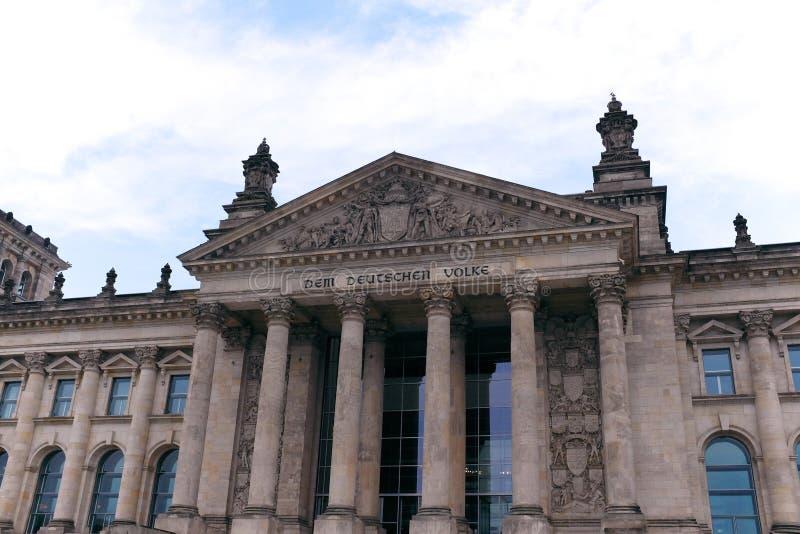 Entrée avant au Reichstag à Berlin, Allemagne image libre de droits