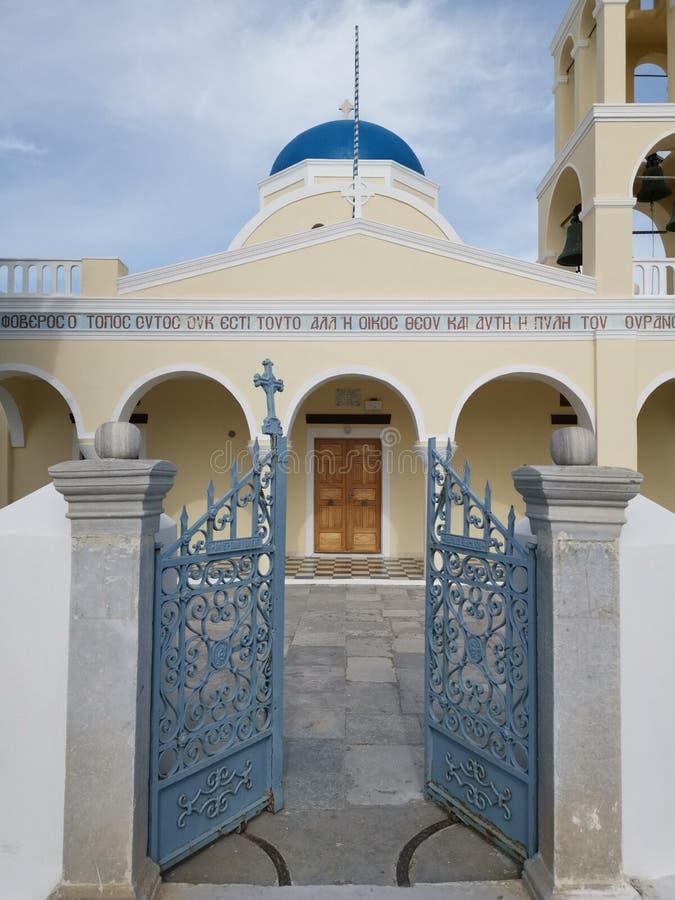 Entr?e d'?glise dans Santorini photos libres de droits