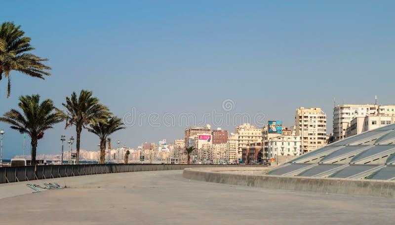 Entrée d'Alexandria Library en Egypte image libre de droits