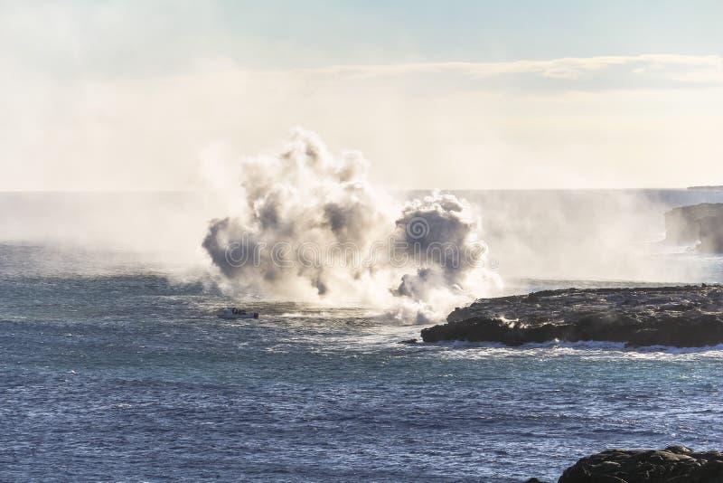 Entrée d'océan de lave de Kalapana sur la grande île d'Hawaï image libre de droits