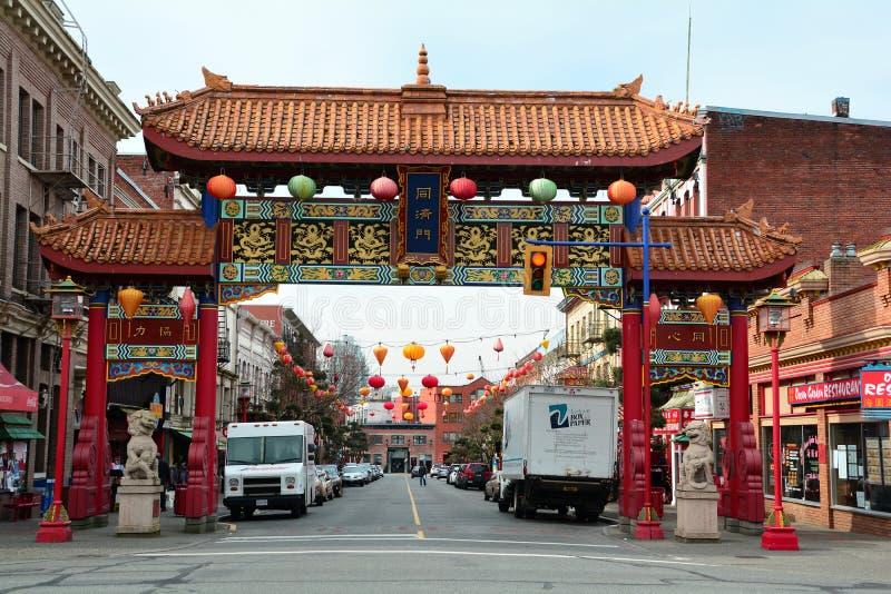 Entrée de Chinatown, Victoria AVANT JÉSUS CHRIST, Canada images libres de droits
