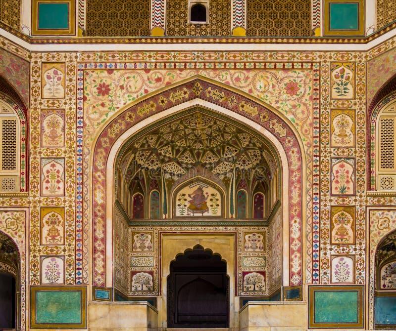 Entrée de Ganesh Pol en Amber Fort Palace, Jaipur, Ràjasthàn, Inde photos stock