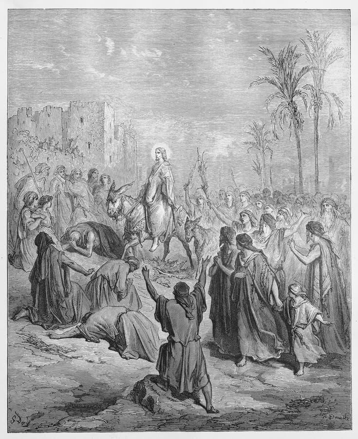 Entrée de Jésus dans Jérusalem illustration stock