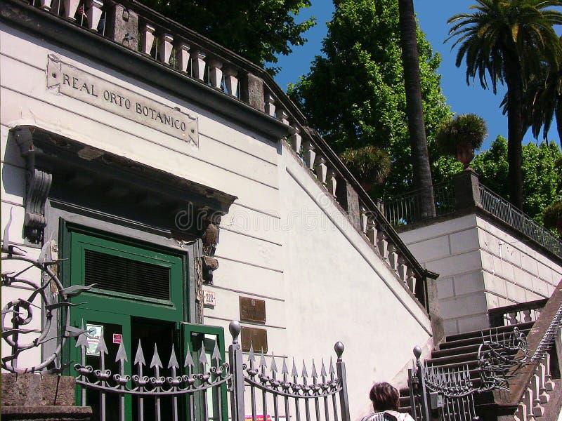 Entrée de jardin botanique de l'Italie Naples photographie stock libre de droits