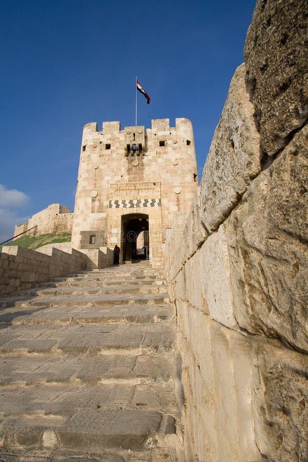 Entrée de la citadelle d'Aleppo, Syrie photo stock