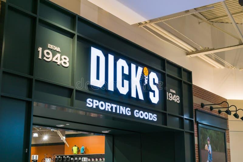 Entrée de magasin de marchandises sportives du ` s de Dick image libre de droits
