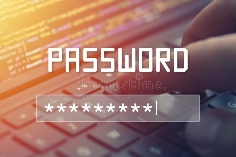 Entrée de mot de passe sur l'écran brouillé de fond Protection par mot de passe illustration libre de droits