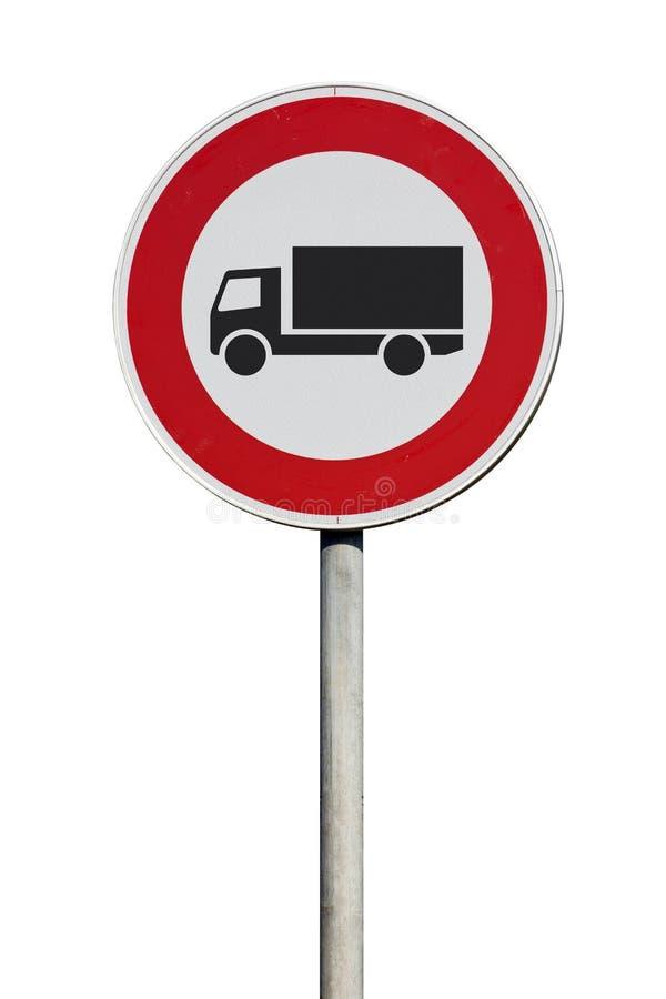 Entrée de poteau de signalisation pour des camions interdits d'isolement photos libres de droits