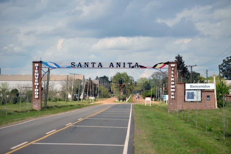 Entrée de Santa Anita Village dans la province d'Entre Rios images stock