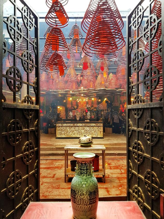 Entrée de temple bouddhiste de MOIS d'homme, Hong Kong photos libres de droits
