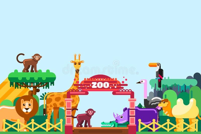 Entrée de zoo, illustration plate de vecteur Animaux mignons autour des portes colorées Week-end en parc, concept extérieur de lo illustration stock
