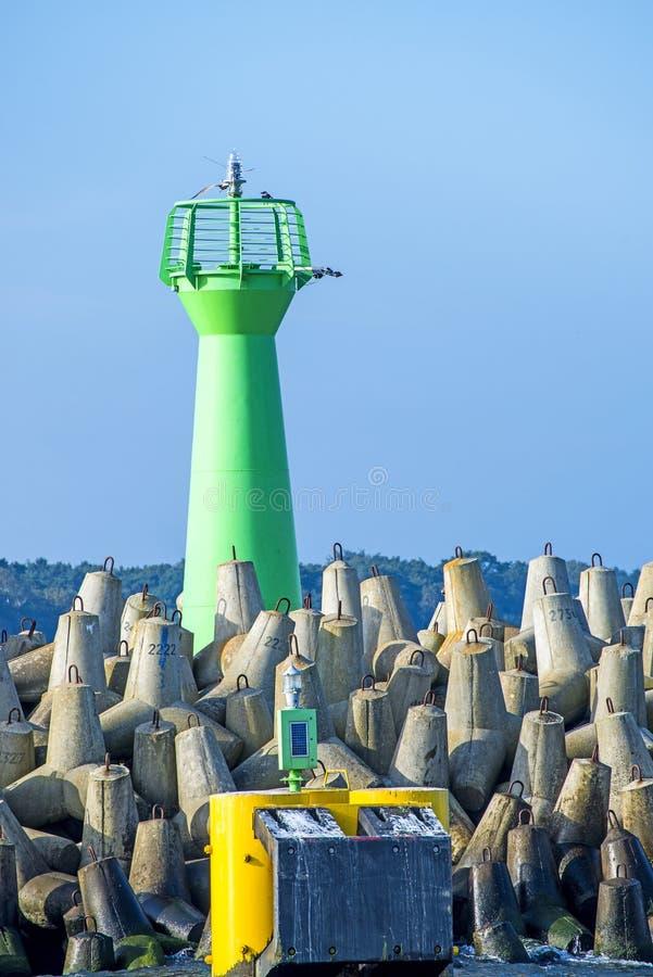 Entrée du port maritime de Kolobrzeg image libre de droits