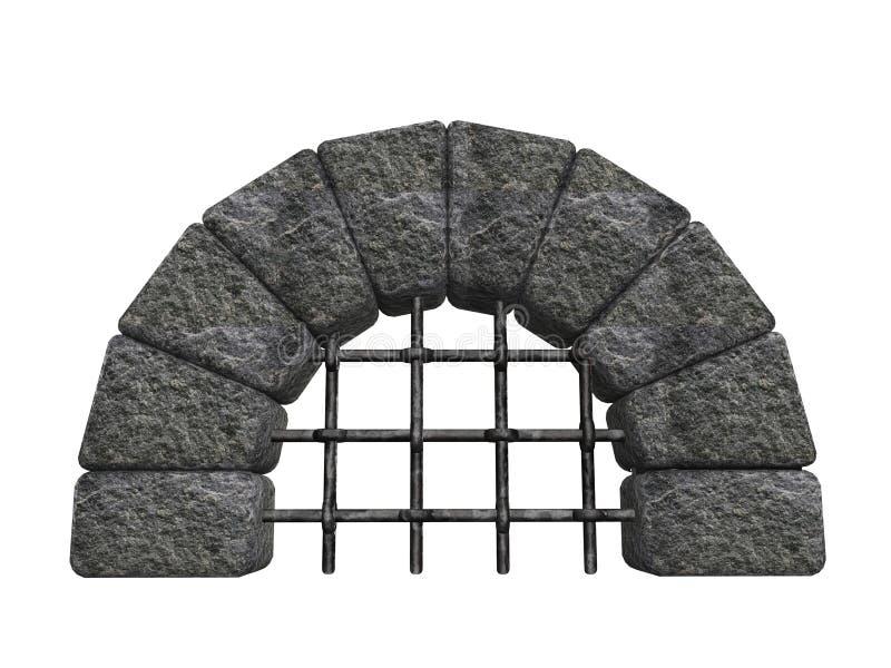 Entrée en pierre arquée illustration stock