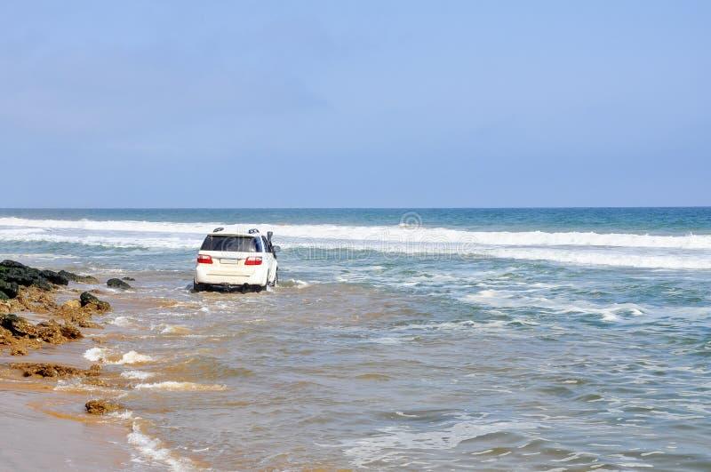 Entraînement aventureux le long de la plage photographie stock
