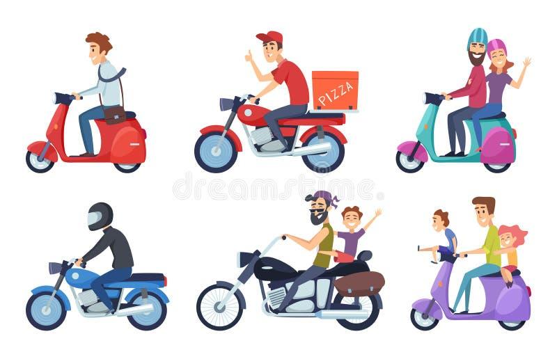 Entraînement de moto Les tours d'homme avec la pizza postale de femme et de nourriture d'enfants fournissent la bande dessinée de illustration de vecteur