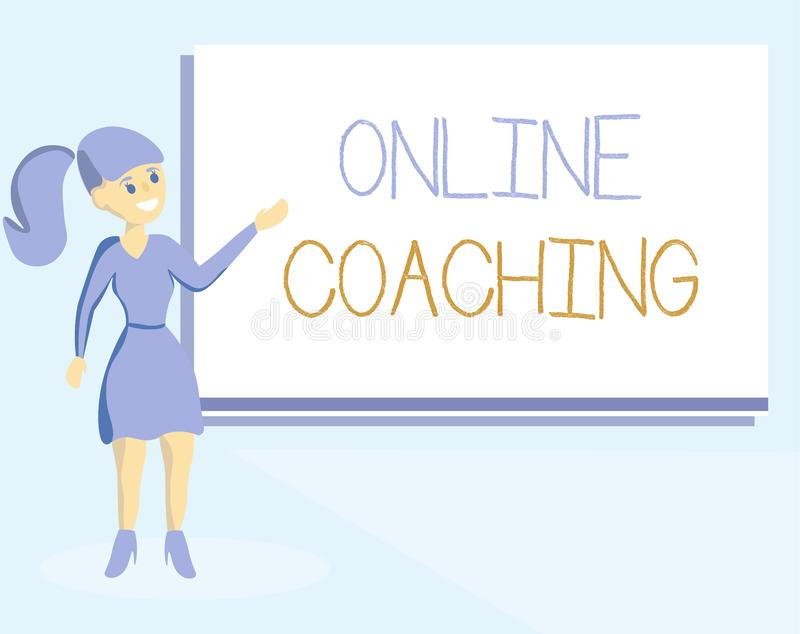 Entraînement en ligne des textes d'écriture de Word Concept d'affaires pour apprendre d'en ligne et Internet à l'aide d'un entraî illustration de vecteur
