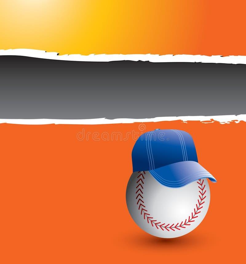 Entraîneur de base-ball sur le drapeau déchiré orange illustration de vecteur