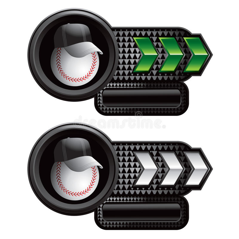 Entraîneur de base-ball sur les drapeaux verts et blancs de flèche illustration libre de droits