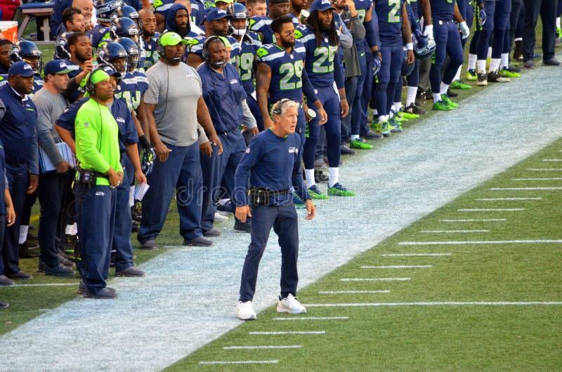 Entraîneur Pete Carroll Seattle Seahawks photo libre de droits