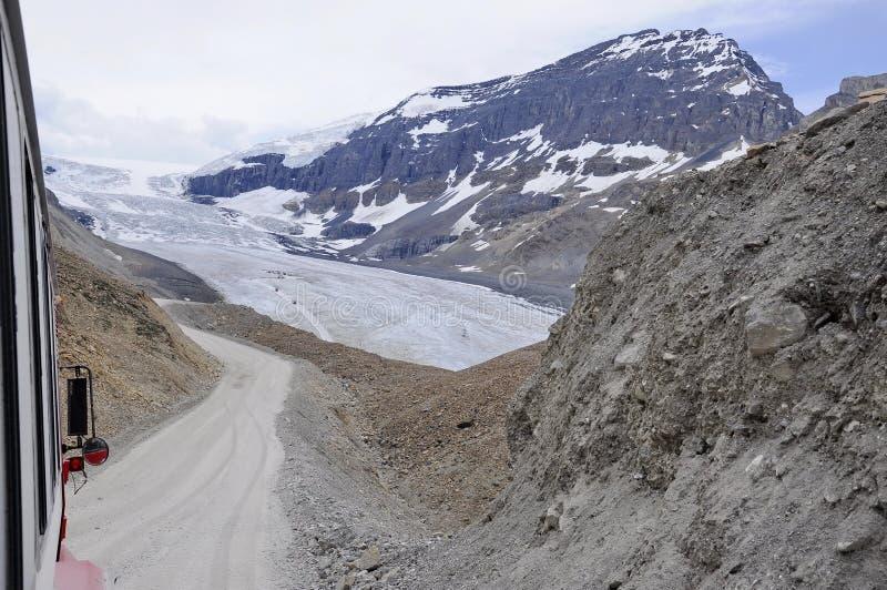 Entraîneurs de Snow d'explorateur de glace sur le glacier d'Athabasca image stock
