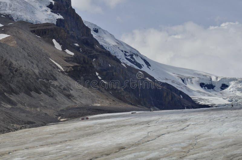 Entraîneurs de Snow d'explorateur de glace sur le glacier d'Athabasca photos stock