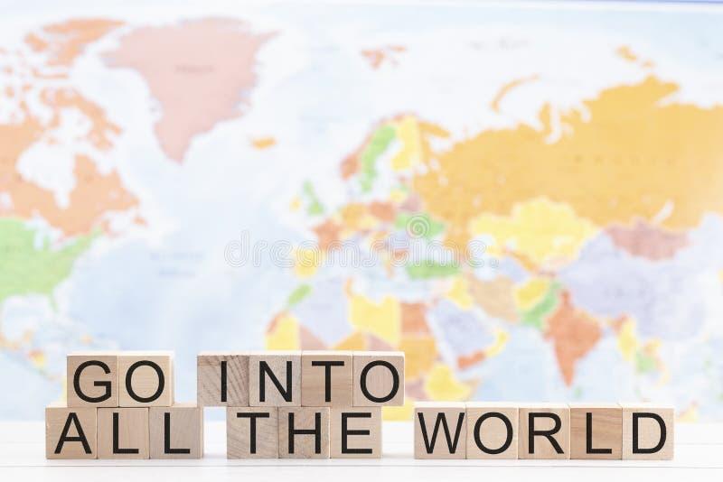 Entra in tutto il mondo un messaggio di evangelismo immagine stock