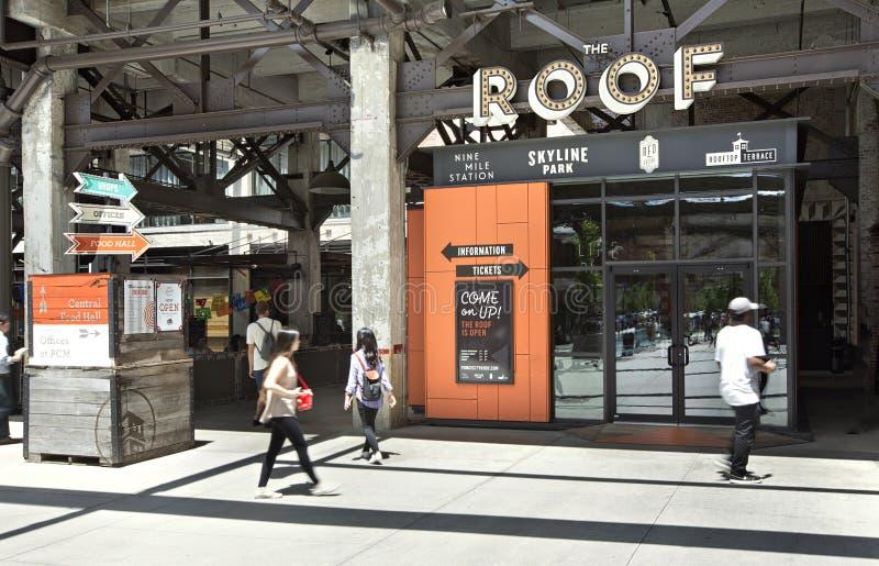 Entrada à atração popular de Atlanta, telhado do mercado da cidade de Ponce foto de stock royalty free