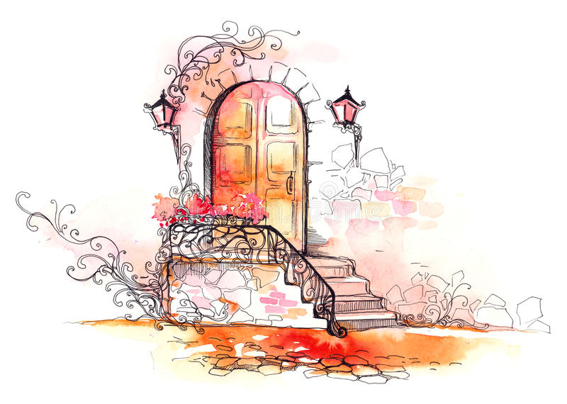Entrada à casa ilustração royalty free