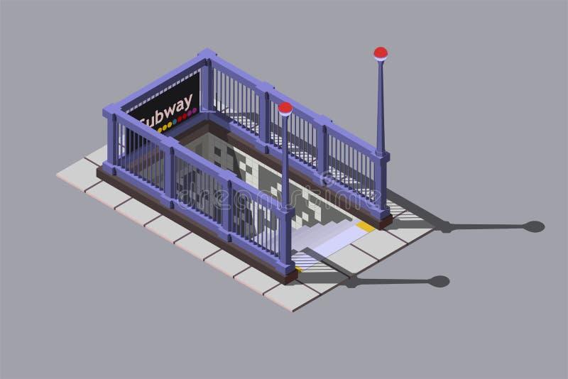A entrada à estação de metro subterrânea, vector a ilustração isométrica ilustração do vetor