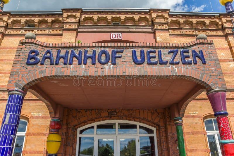 Entrada à estação de trem de Uelzen foto de stock