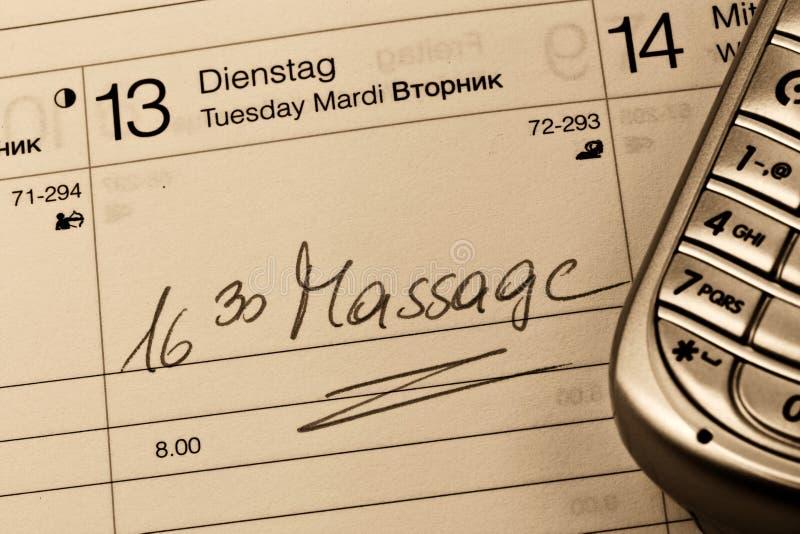 Entrada à massagem do calendário fotografia de stock royalty free