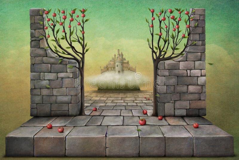 Entrada al jardín stock de ilustración