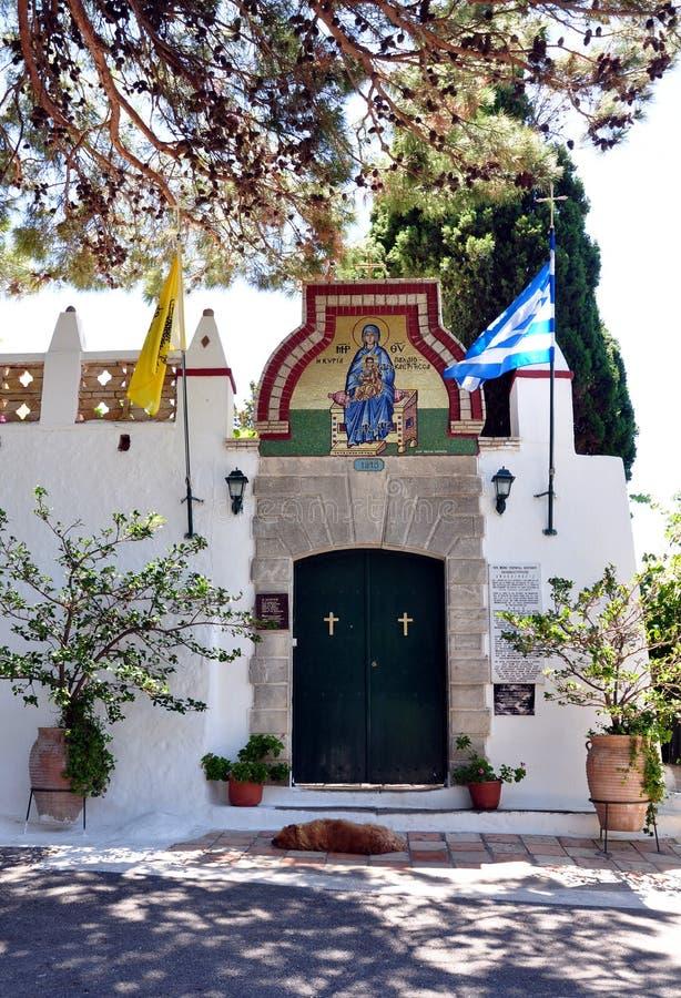 Entrada al monasterio, la isla de Corfú, Grecia, Europa imágenes de archivo libres de regalías