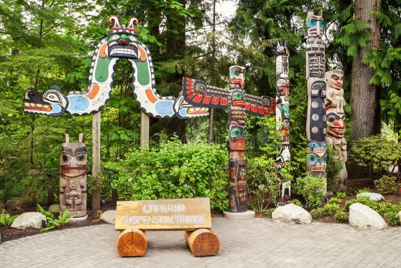 Entrada al parque regional del río de Capilano, Vancouver imagen de archivo